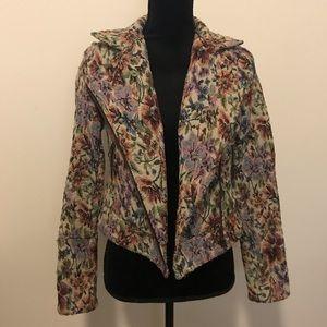 Free People Floral Tapestry Moto Jacket 0